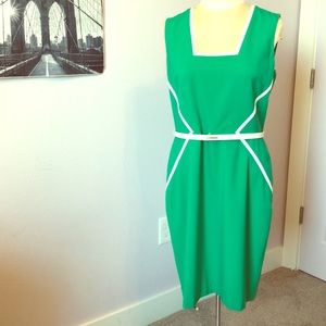 Belted Calvin Klein fitted dress